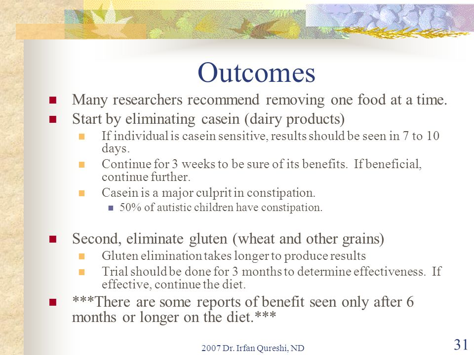 Outcomes Many researchers recommend removing one food at a time.