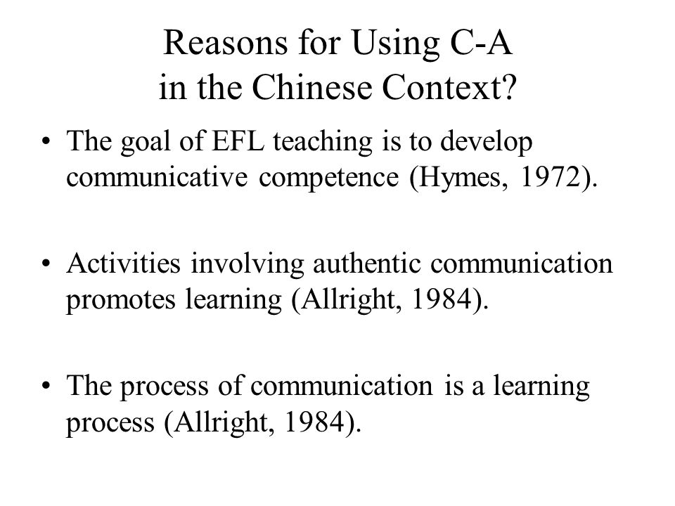 Reasons for Using C-A in the Chinese Context