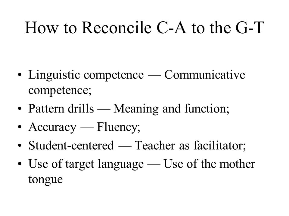 How to Reconcile C-A to the G-T