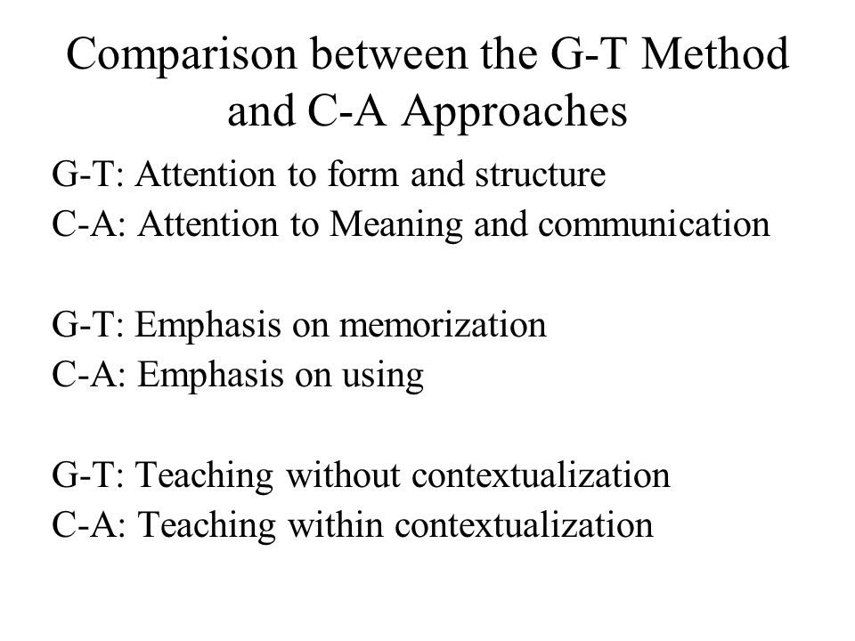 Comparison between the G-T Method and C-A Approaches
