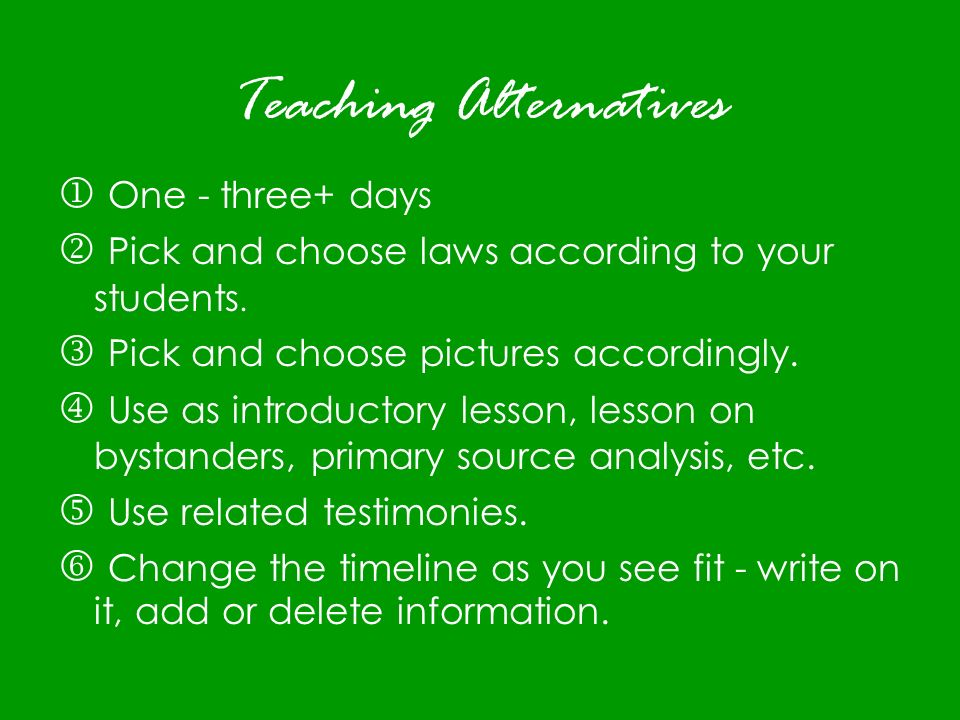 Teaching Alternatives