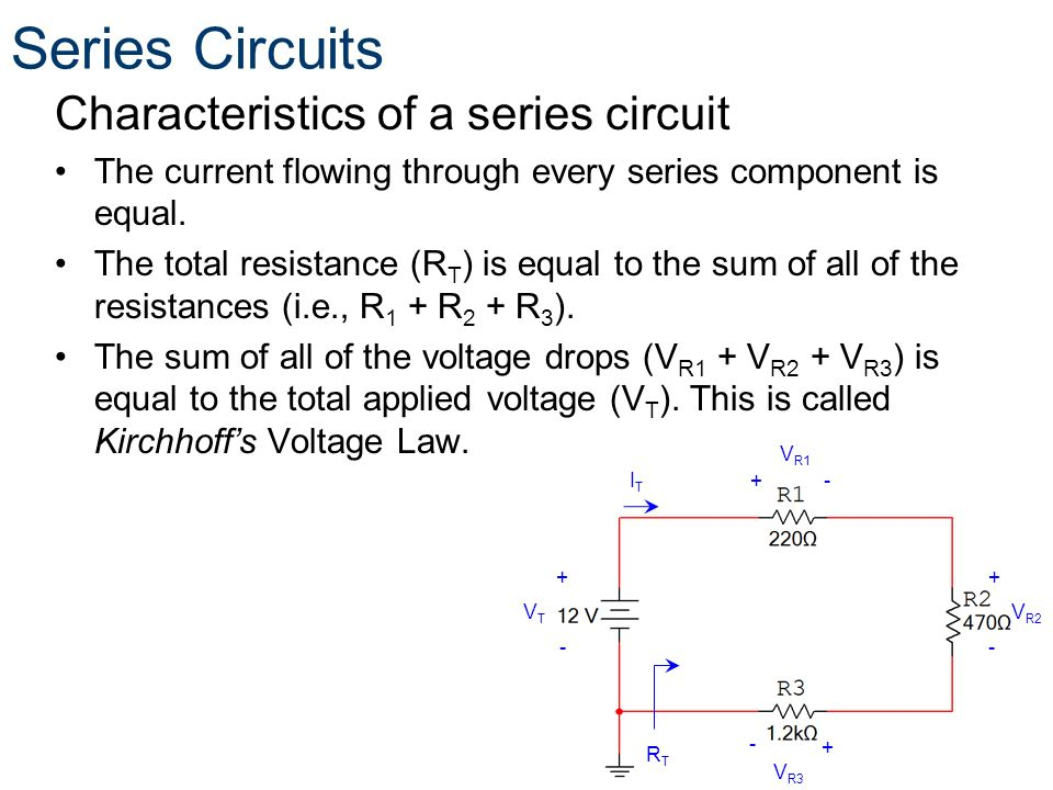 Series Circuits Characteristics of a series circuit