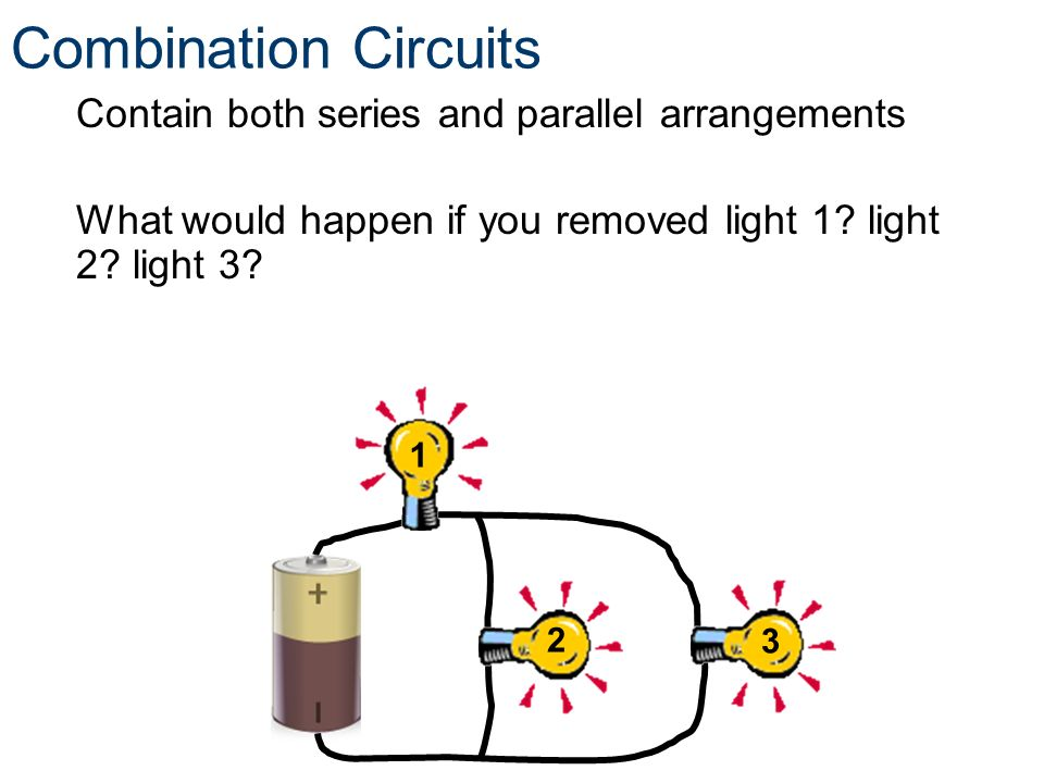 Combination Circuits Contain both series and parallel arrangements What would happen if you removed light 1 light 2 light 3