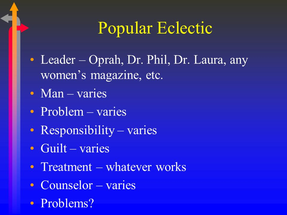 Popular Eclectic Leader – Oprah, Dr. Phil, Dr. Laura, any women's magazine, etc. Man – varies. Problem – varies.