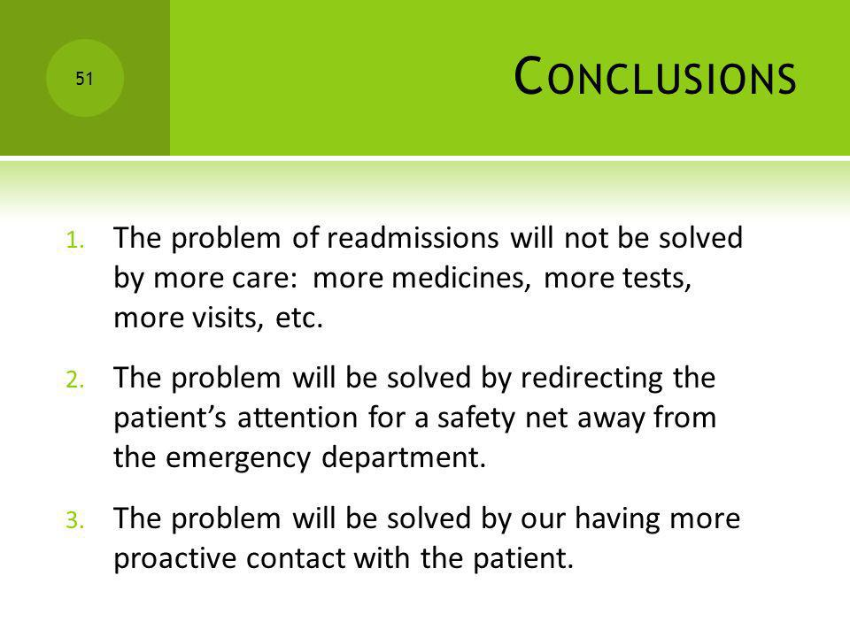 Conclusions The problem of readmissions will not be solved by more care: more medicines, more tests, more visits, etc.