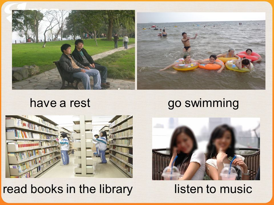 read books in the library listen to music