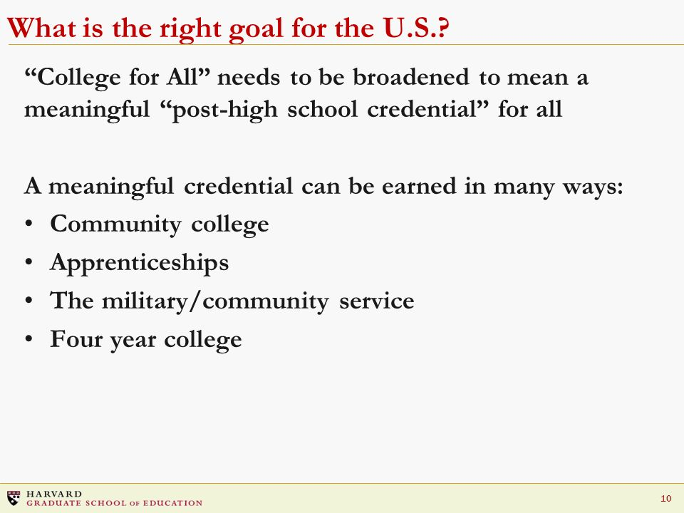 What is the right goal for the U.S.