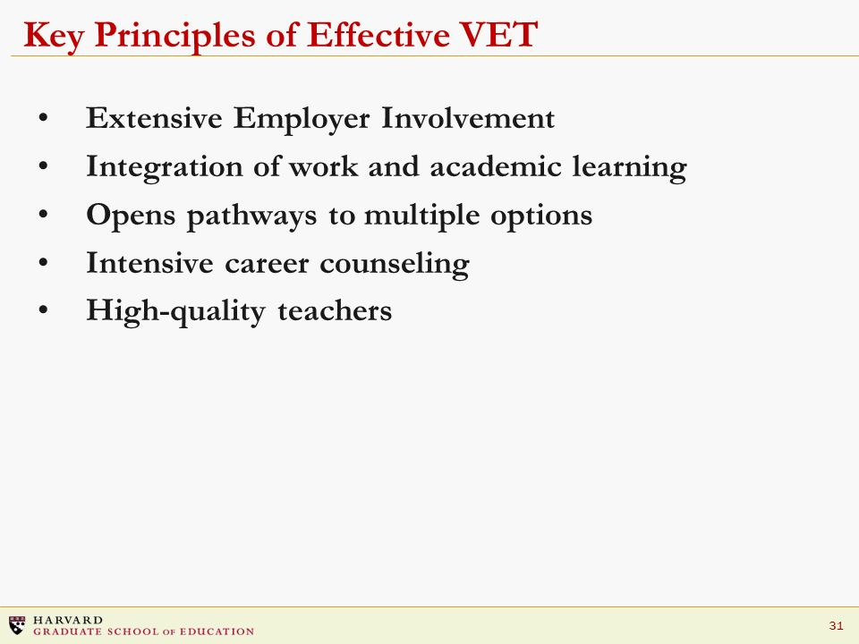 Key Principles of Effective VET