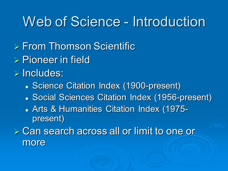 Web of Science - Introduction