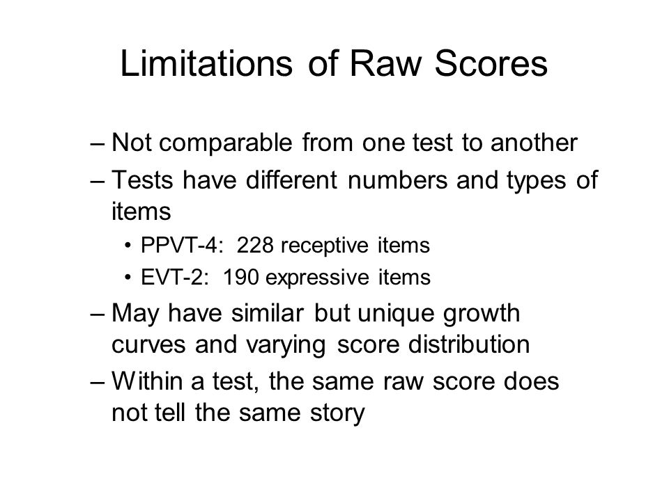 Limitations of Raw Scores
