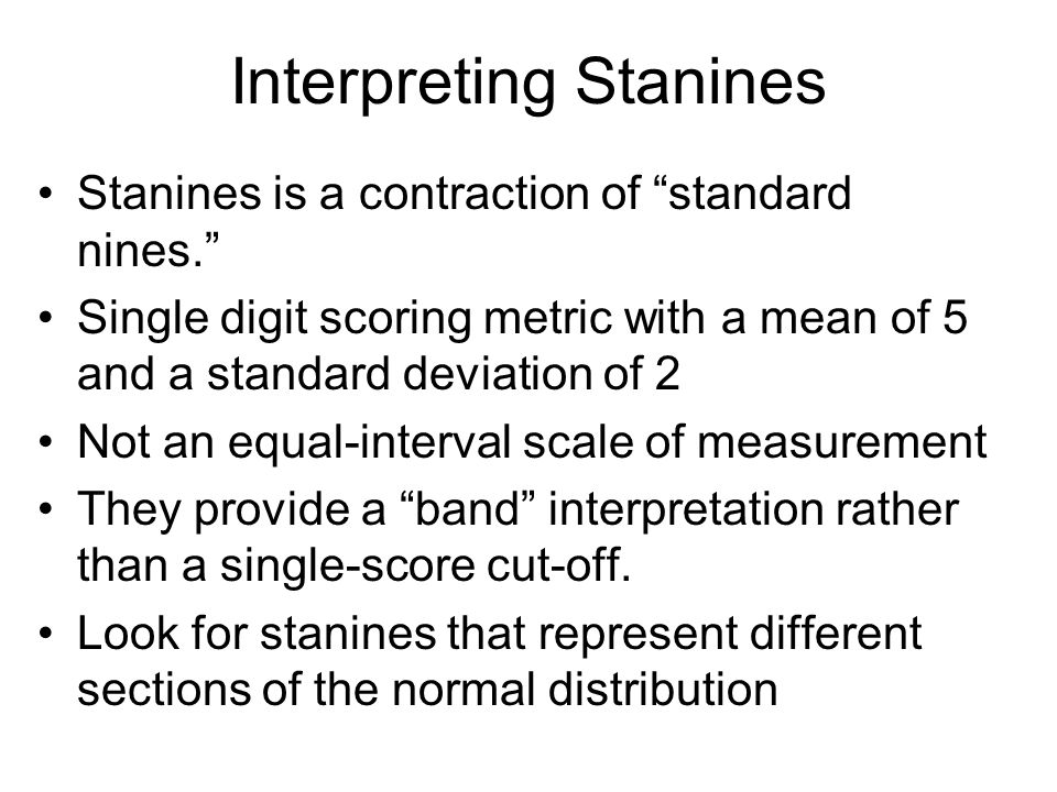 Interpreting Stanines