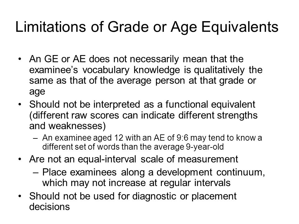 Limitations of Grade or Age Equivalents