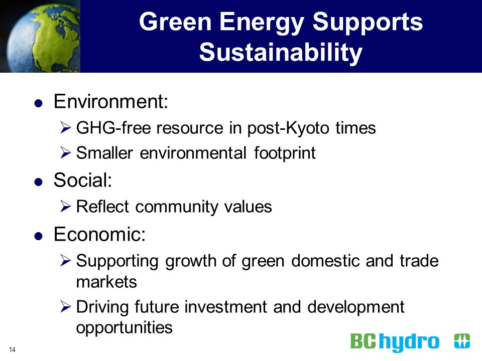 Green Energy Supports Sustainability