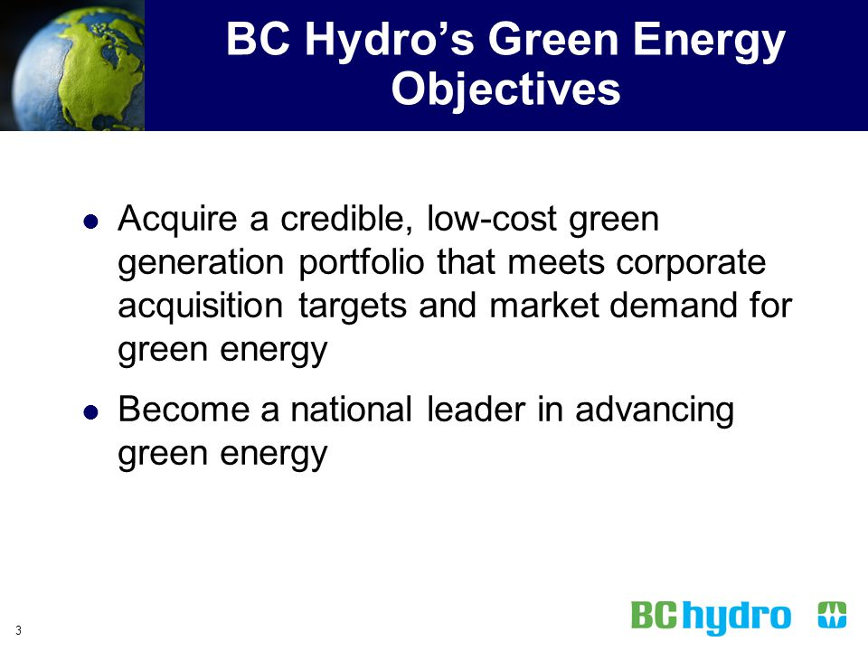 BC Hydro's Green Energy Objectives