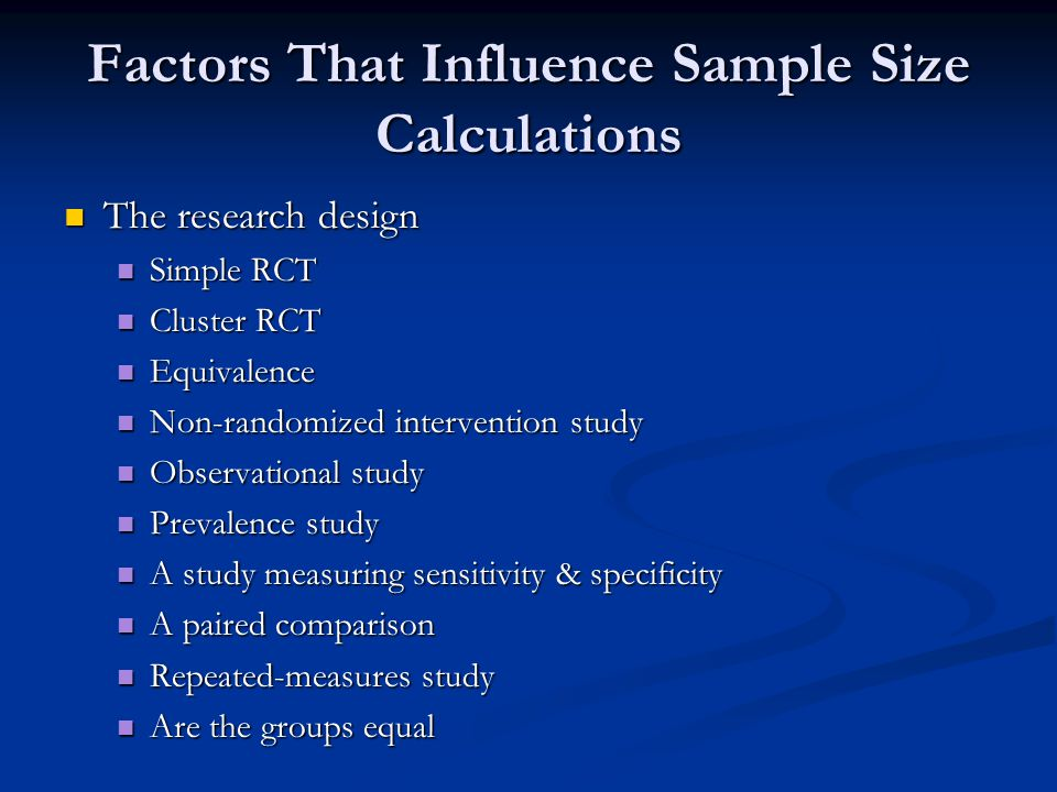 Factors That Influence Sample Size Calculations
