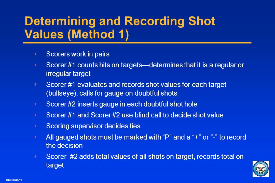 Determining and Recording Shot Values (Method 1)