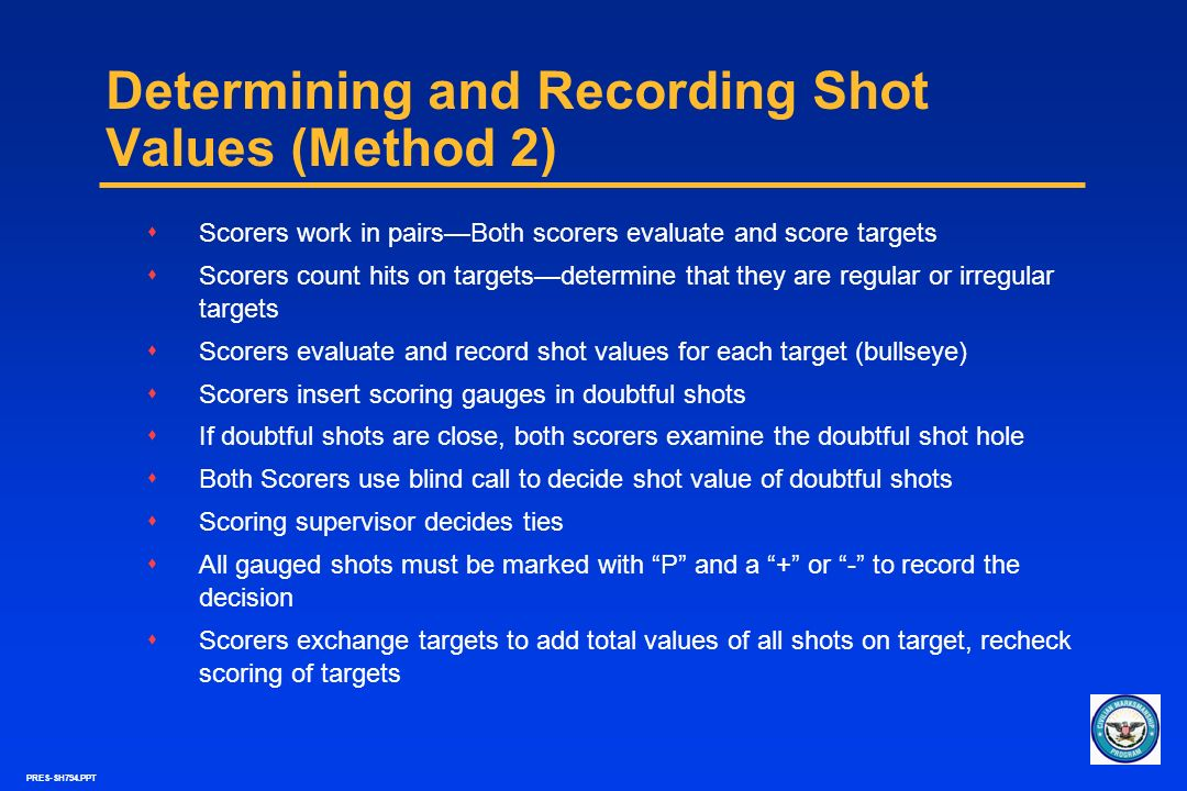 Determining and Recording Shot Values (Method 2)