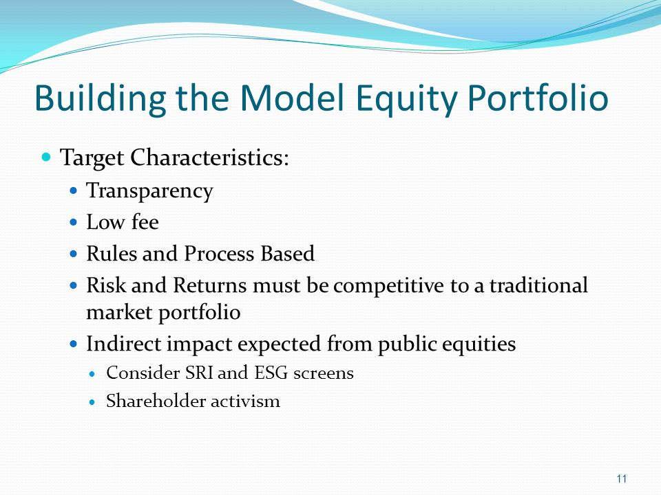 Building the Model Equity Portfolio