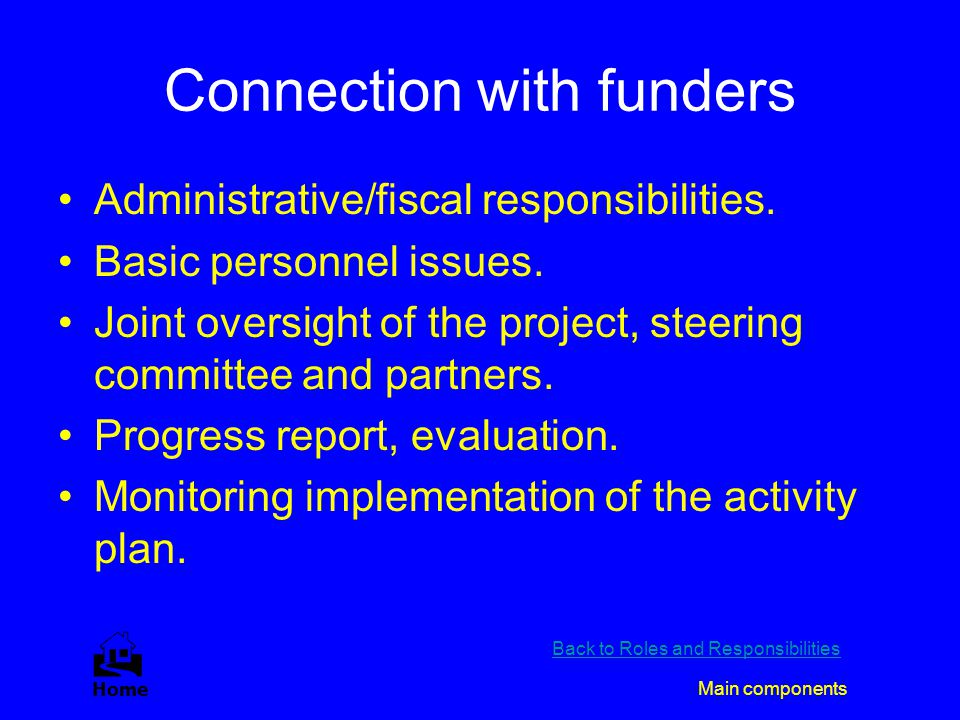 Connection with funders