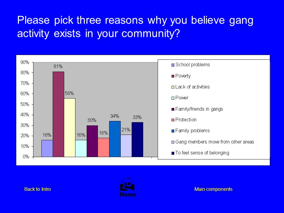 Please pick three reasons why you believe gang activity exists in your community