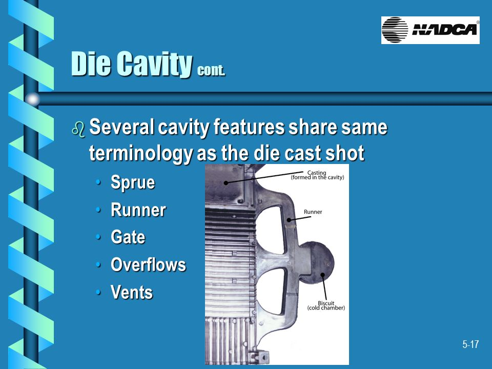 Die Cavity cont. Several cavity features share same terminology as the die cast shot. Sprue. Runner.