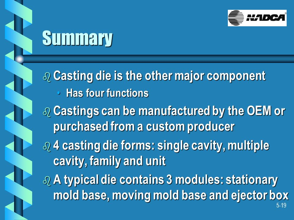 Summary Casting die is the other major component