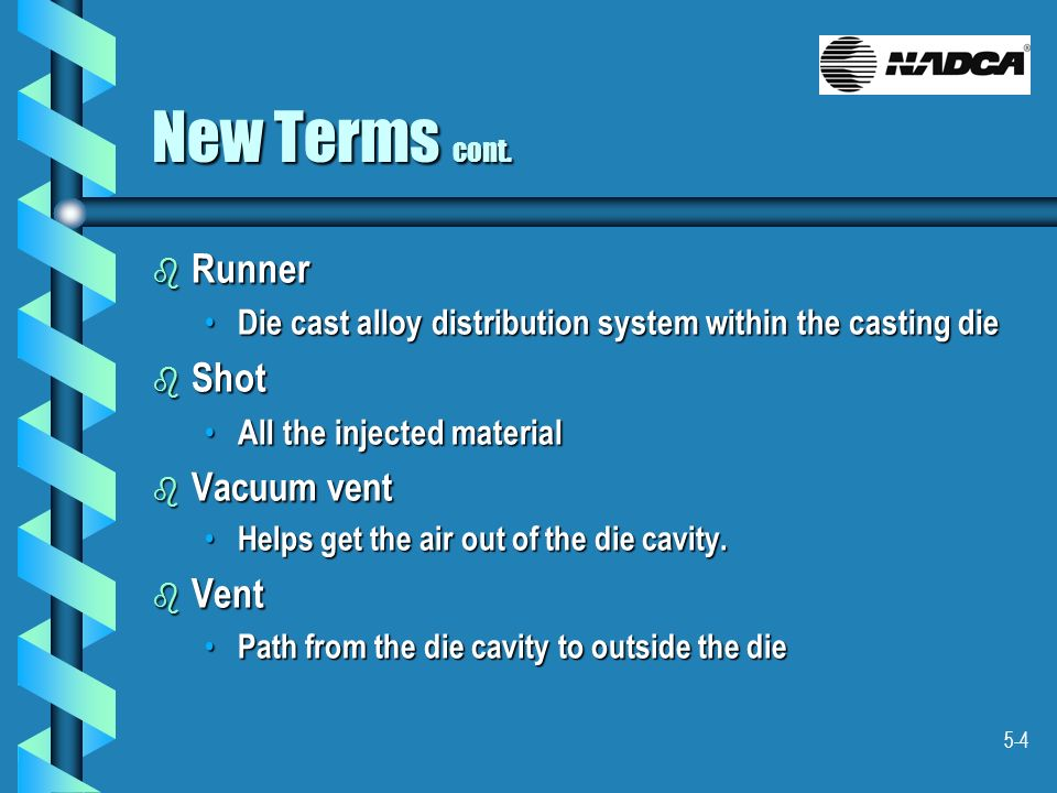 New Terms cont. Runner Shot Vent Vacuum vent