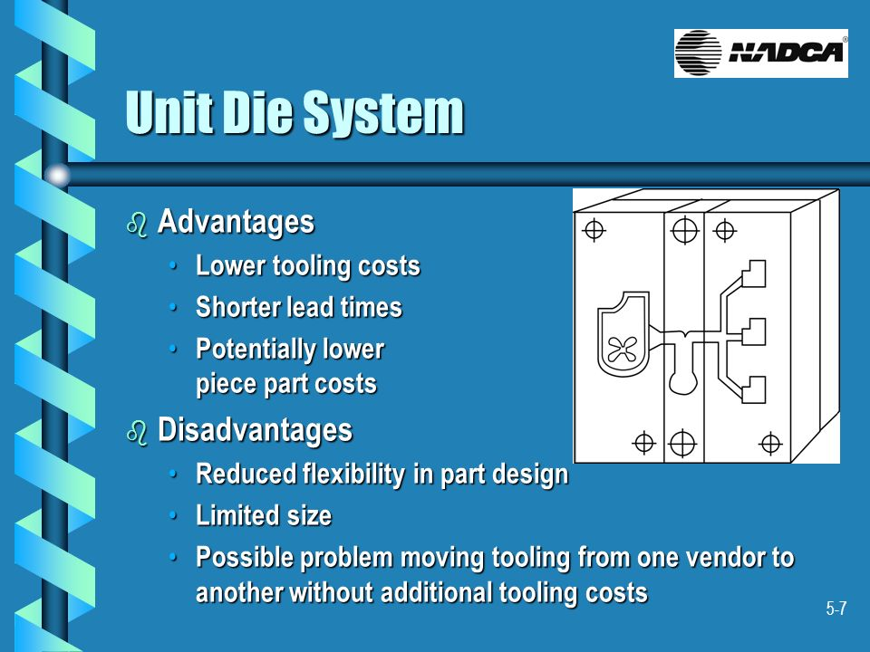 Unit Die System Advantages Disadvantages Lower tooling costs