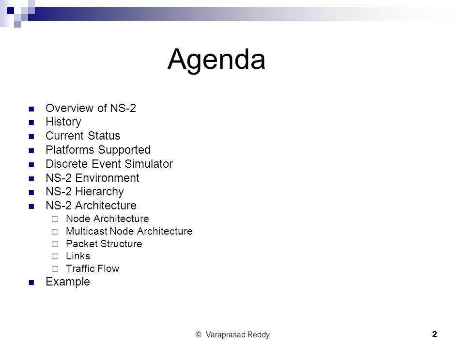 Agenda Overview of NS-2 History Current Status Platforms Supported
