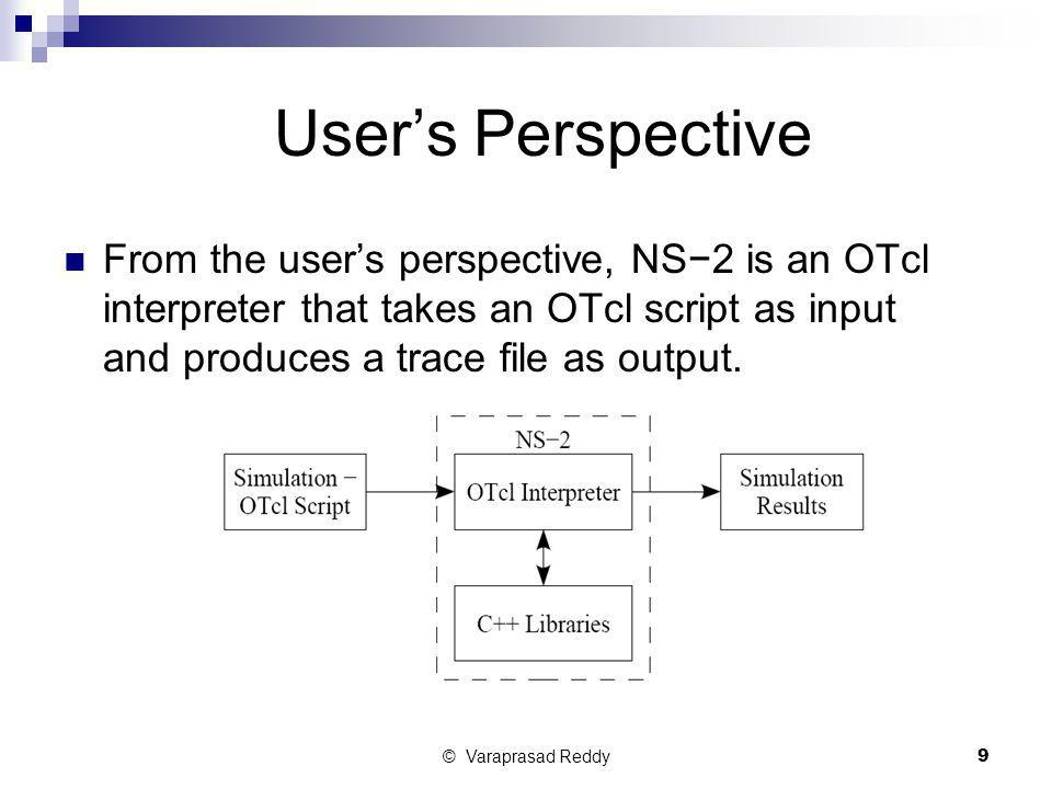 User's Perspective From the user's perspective, NS−2 is an OTcl interpreter that takes an OTcl script as input and produces a trace file as output.