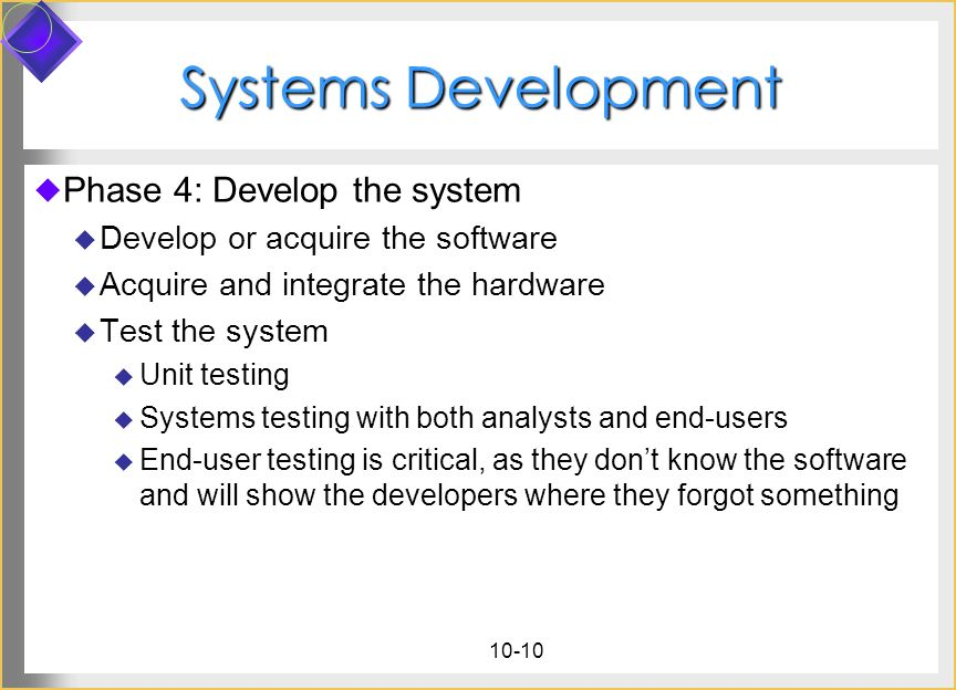 Systems Development Phase 4: Develop the system