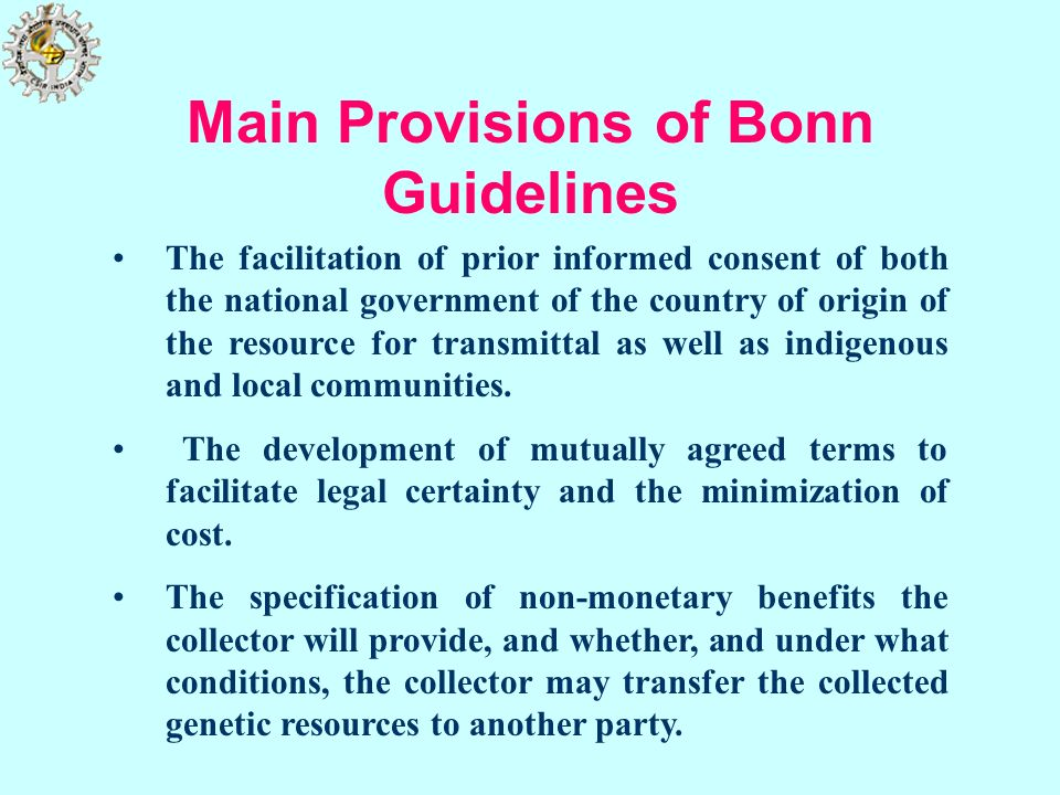 Main Provisions of Bonn Guidelines
