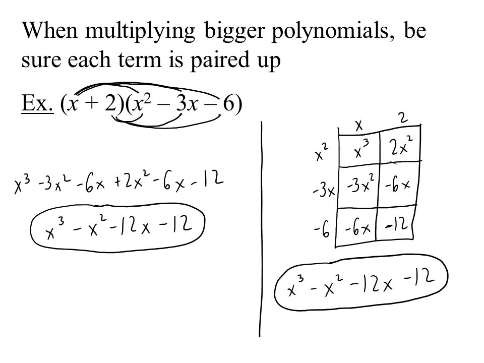 When multiplying bigger polynomials, be sure each term is paired up