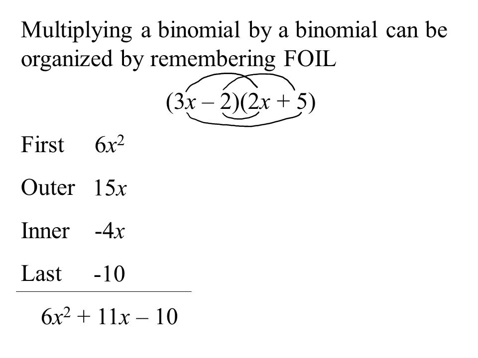 Multiplying a binomial by a binomial can be organized by remembering FOIL