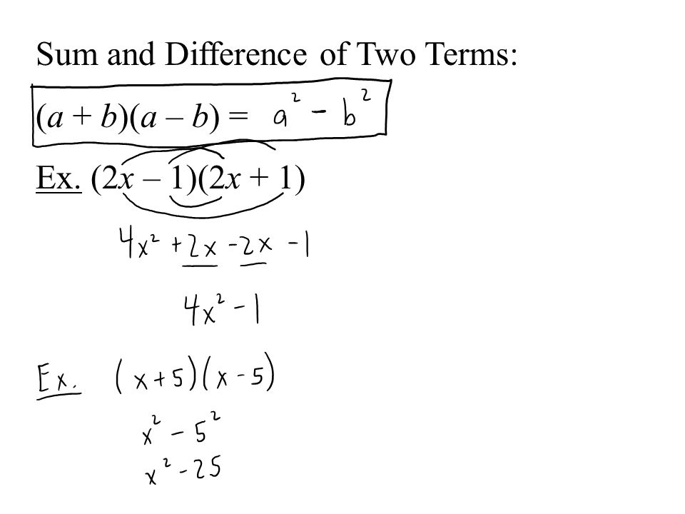 Sum and Difference of Two Terms: