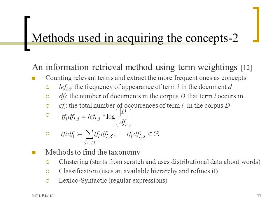 Methods used in acquiring the concepts-2