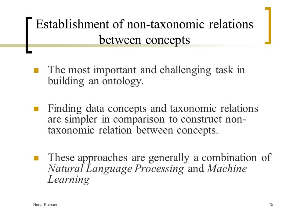 Establishment of non-taxonomic relations between concepts