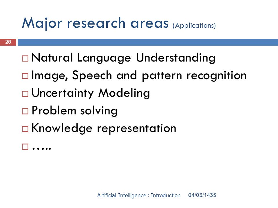 Major research areas (Applications)