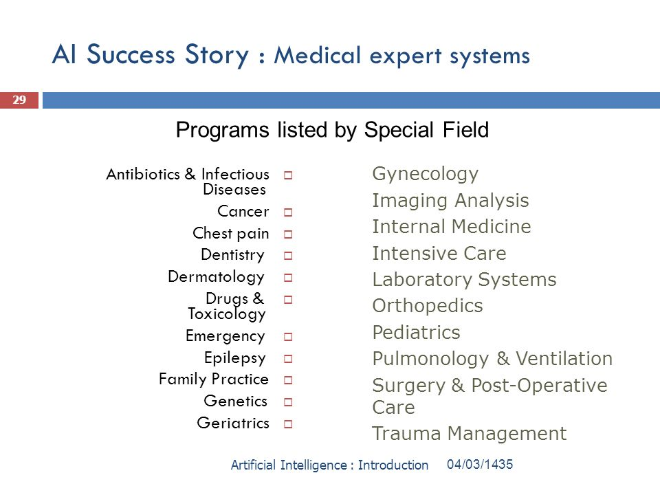 AI Success Story : Medical expert systems