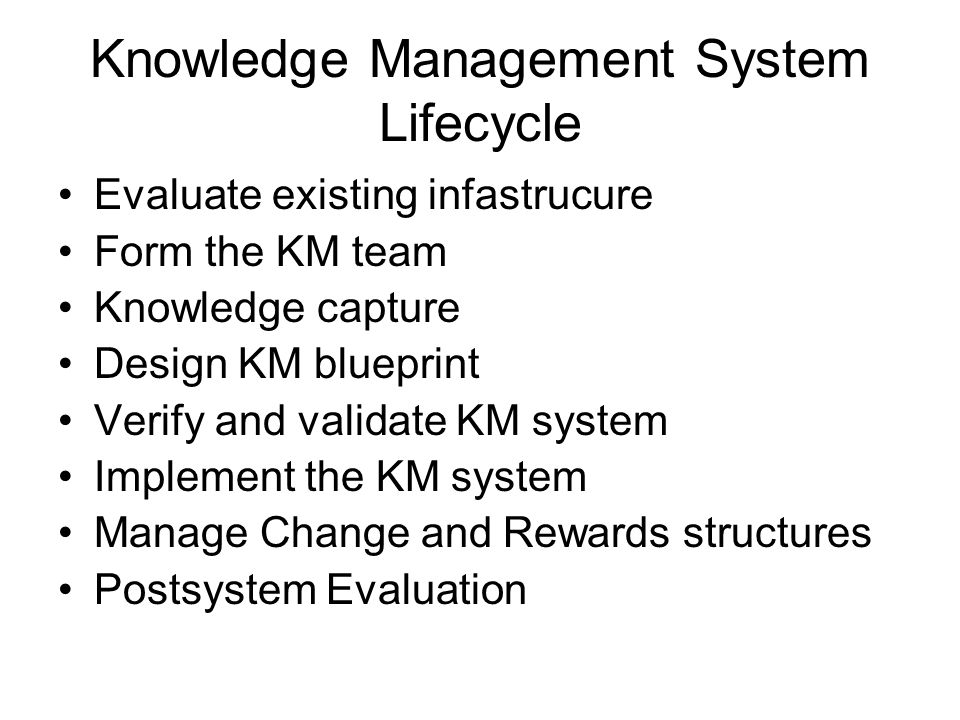 Knowledge Management System Lifecycle