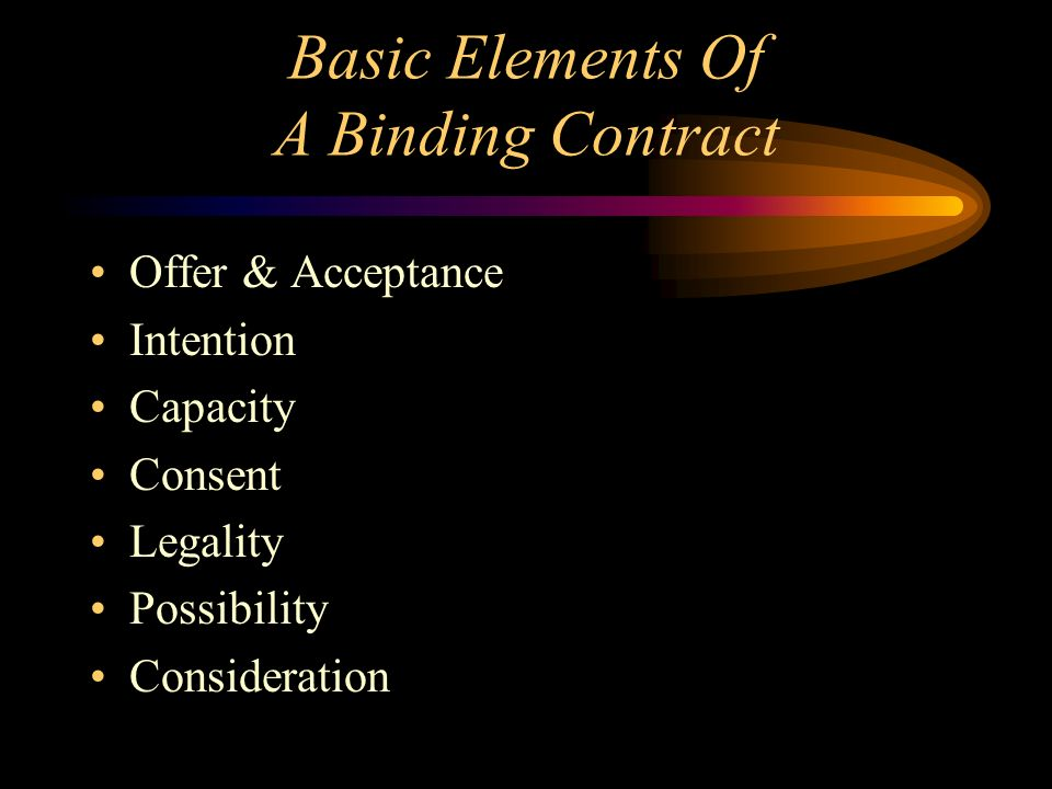 Basic Elements Of A Binding Contract