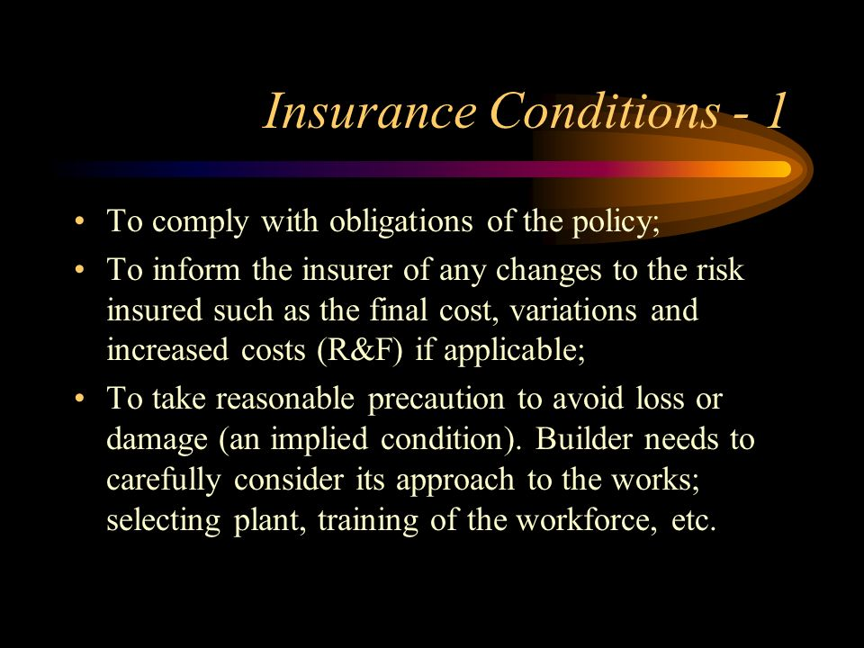 Insurance Conditions - 1
