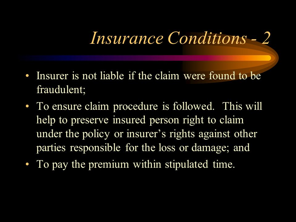 Insurance Conditions - 2