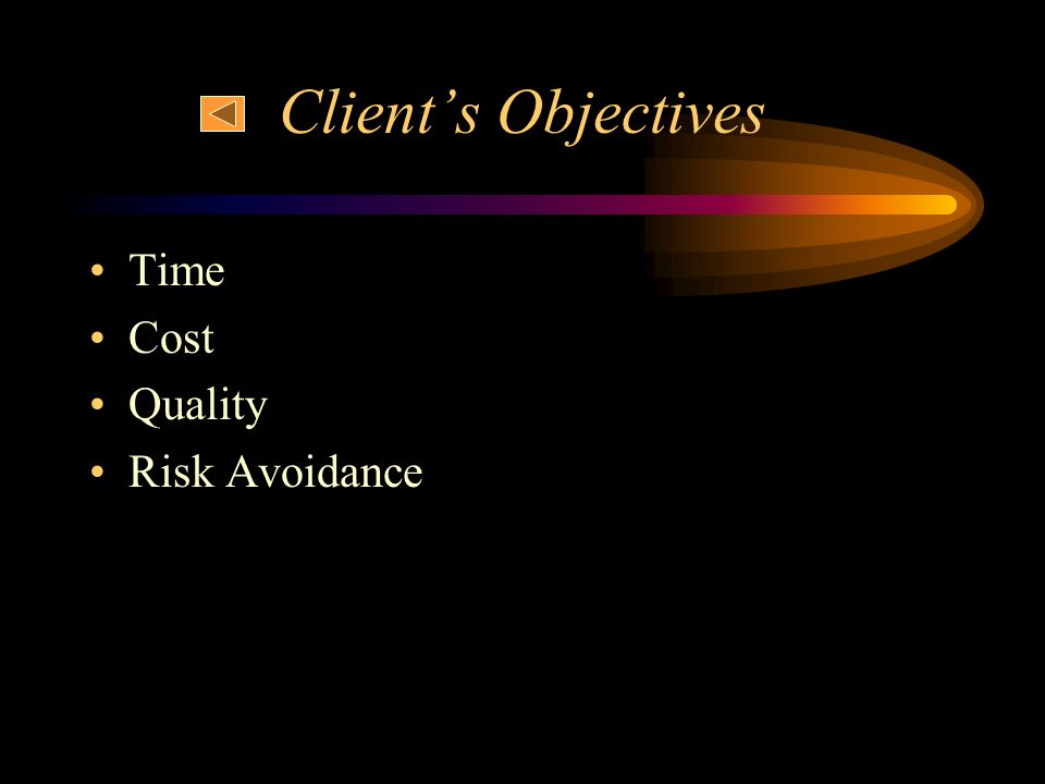 Client's Objectives Time Cost Quality Risk Avoidance