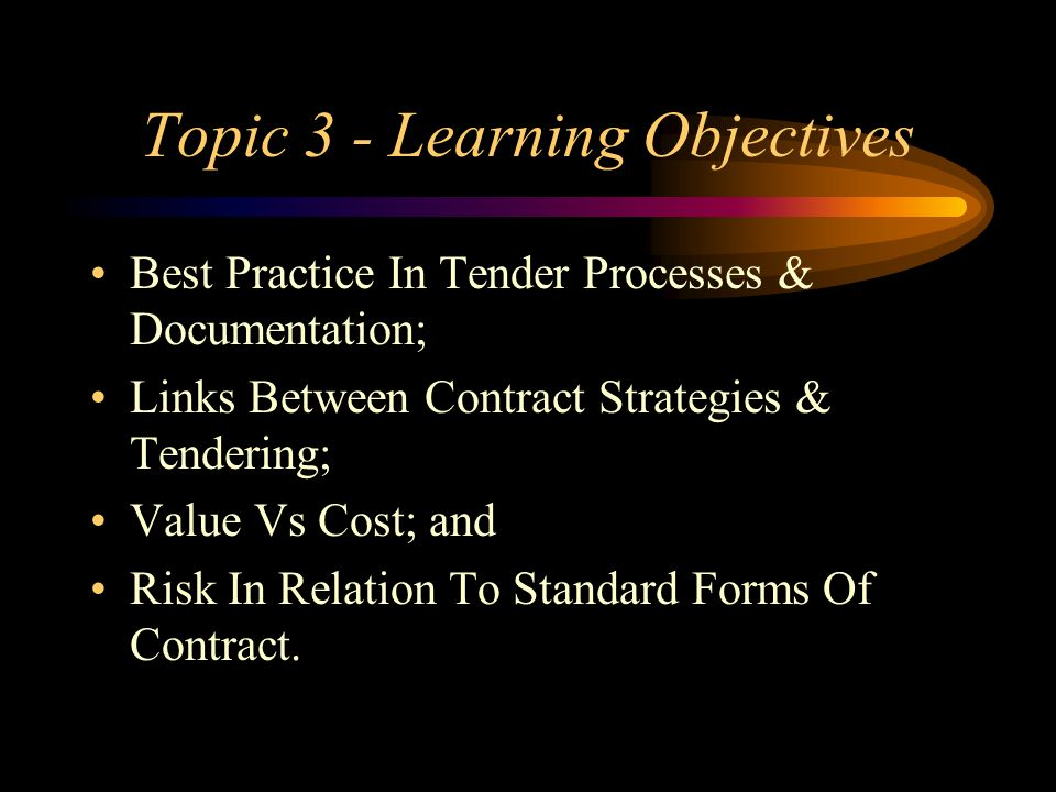 Topic 3 - Learning Objectives