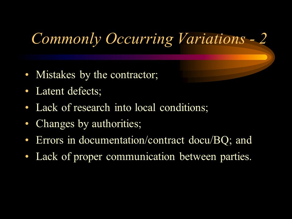 Commonly Occurring Variations - 2