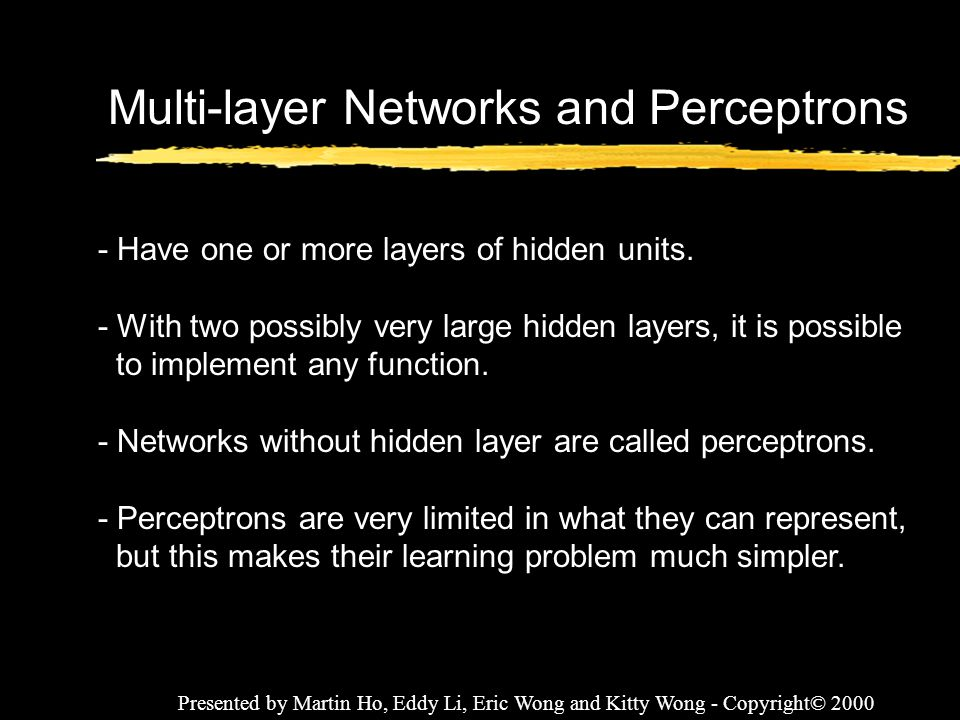 Multi-layer Networks and Perceptrons