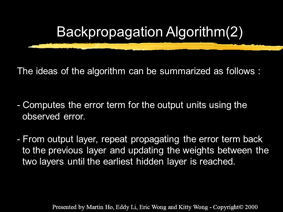 Backpropagation Algorithm(2)