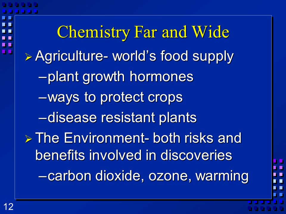 Chemistry Far and Wide Agriculture- world's food supply