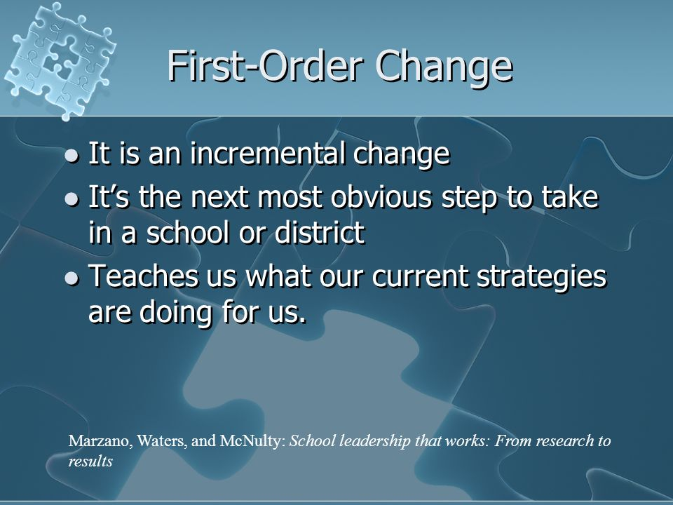 First-Order Change It is an incremental change